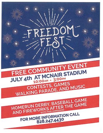 Freedom Fest to be held July 4th at McNair Field