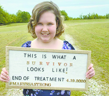 This young girl is a hero;  Maryssa Dysart celebrating last chemo threatment