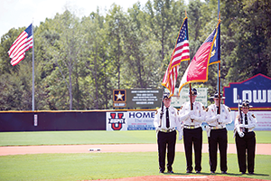 Presenting colors  during American Legion World Series