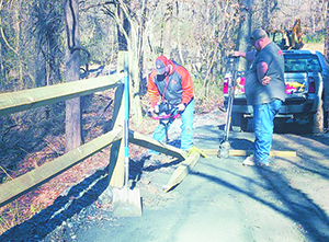 Town of Rutherfordton's Public Works Department adds fencing along trail